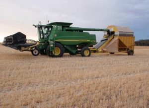 Chaff cart pulled behind a combine in Australia. Photo: Michael Walsh, Australian Herbicide Resistance Initiative
