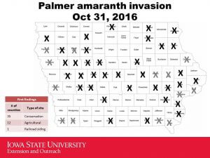 First findings of Palmer amaranth in Iowa counties as of October 31, 2016, according to whether they were introduced to conservation land or agricultural land, or railroad siding.