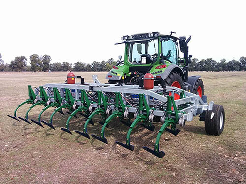Photo of  six-metre-wide pre-commercial prototype mechanical weed chipper